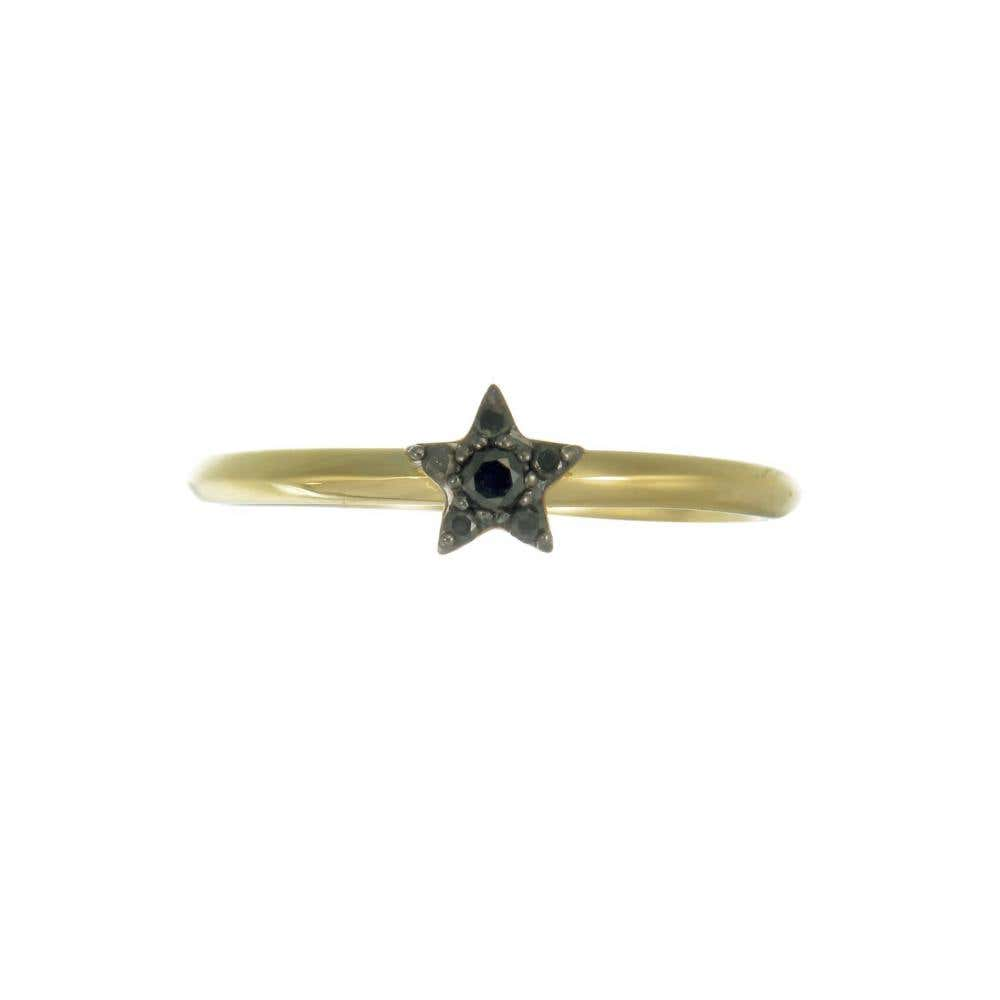 Alcyone Yellow Gold Black Diamond Ring - Image