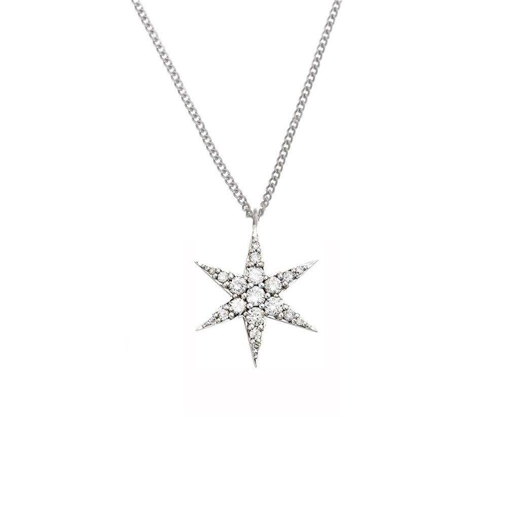 Anahata Diamond Necklace 9k White Gold / White Diamond - Image