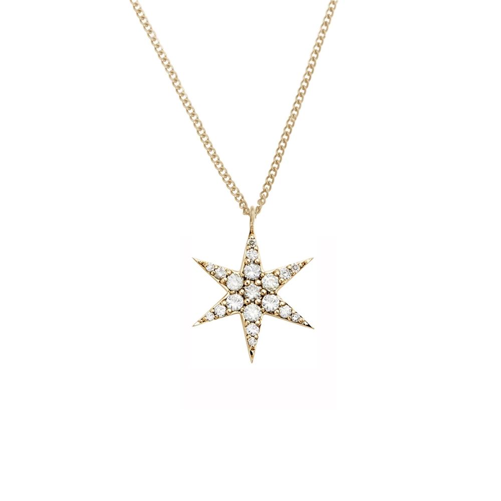 Anahata Diamond Necklace 9k Yellow Gold / White Diamond - Image
