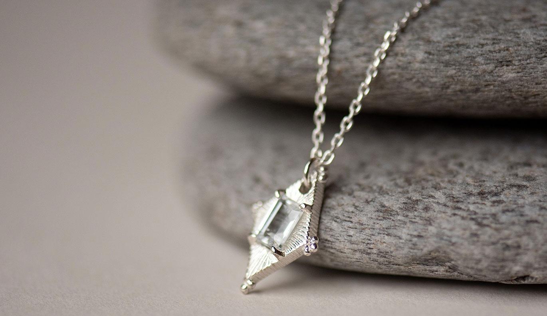 Anastasia Necklace / 925 Sterling Silver / White Topaz