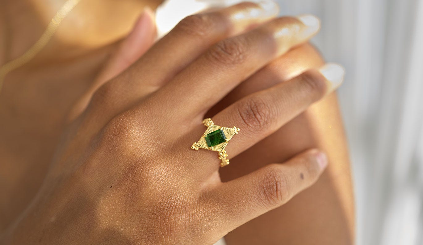 Anastasia Ring  / 22k Gold Plate / Chrome Diopside
