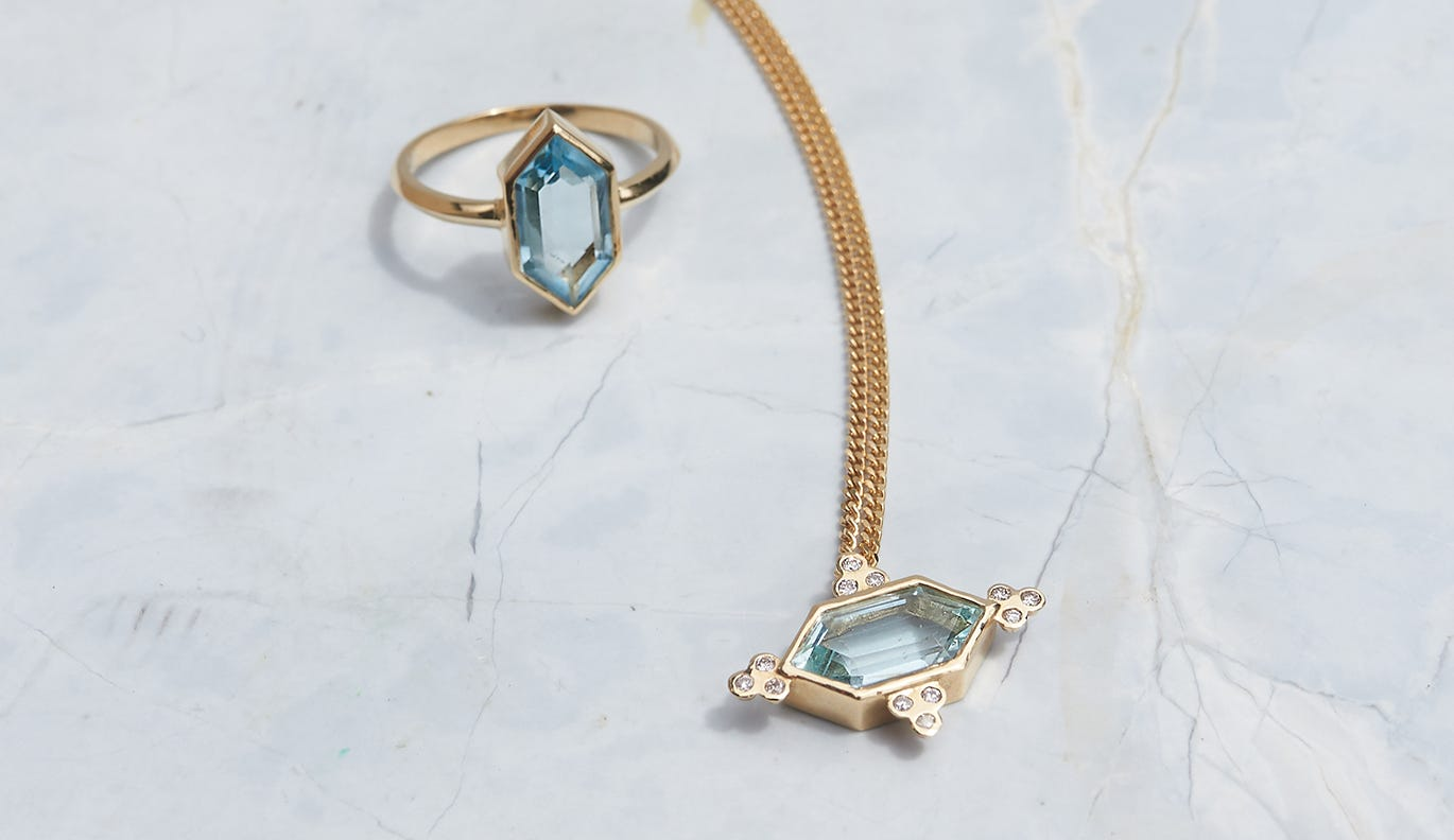 Araceli Necklace / 18k Yellow Gold / Aquamarine