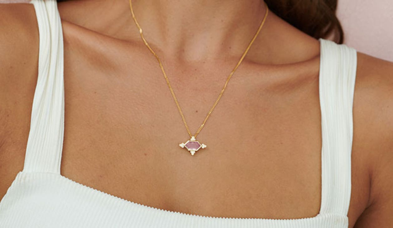 Araceli Necklace / 18k Yellow Gold / Rose Quartz