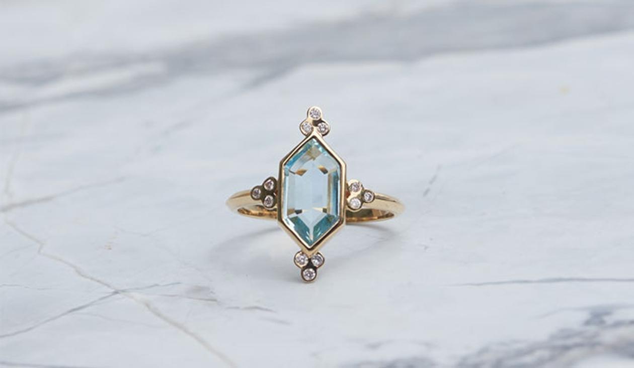 Araceli Ring / 18k Yellow Gold / Aquamarine, Diamond