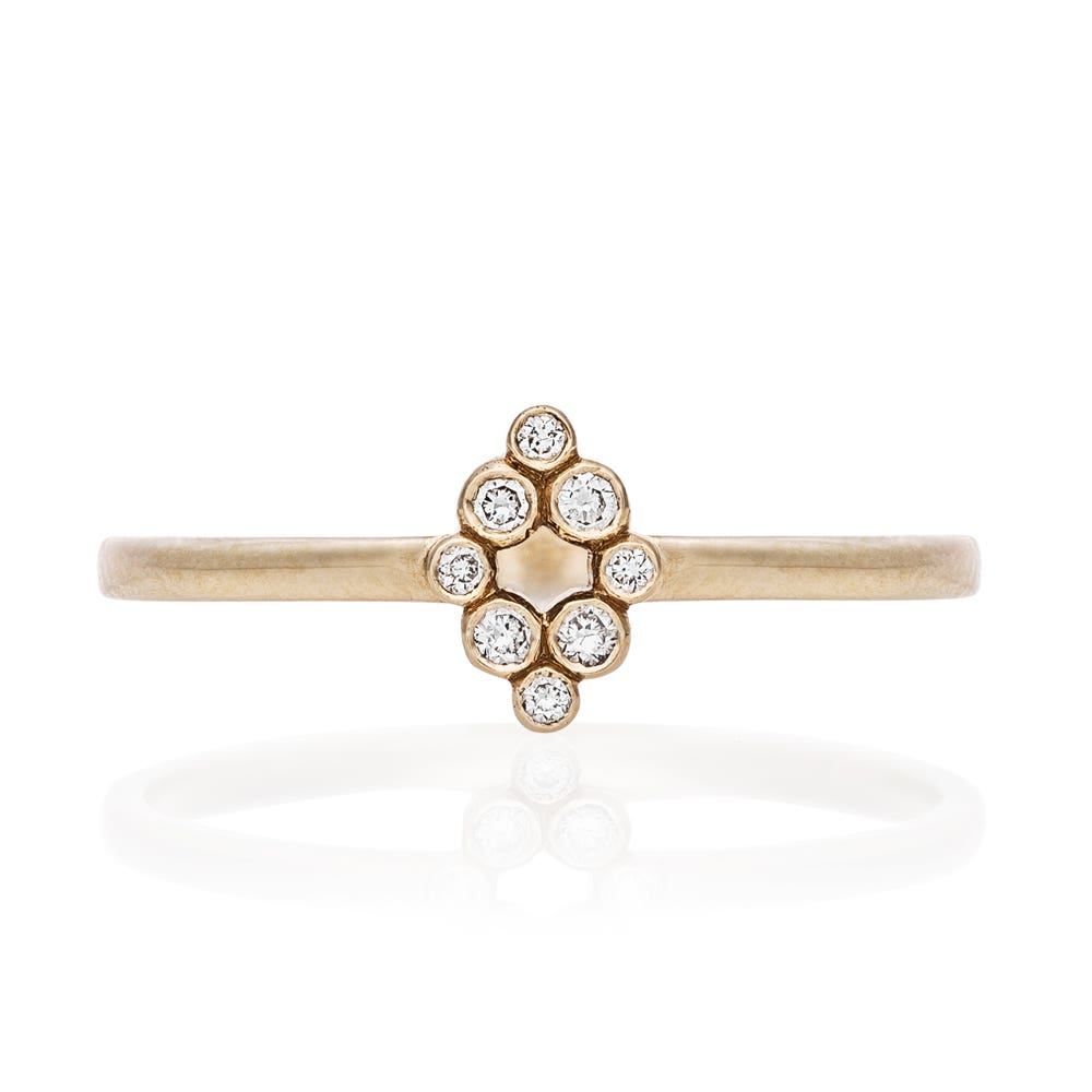 Aya Ring. 9k Yellow Gold / Diamond - Thumbnail