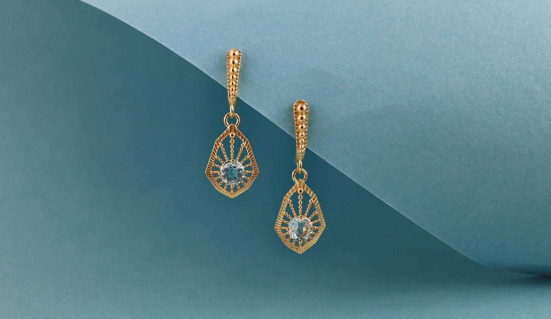 Bella Earring / 22k Gold Plate / Aquamarine