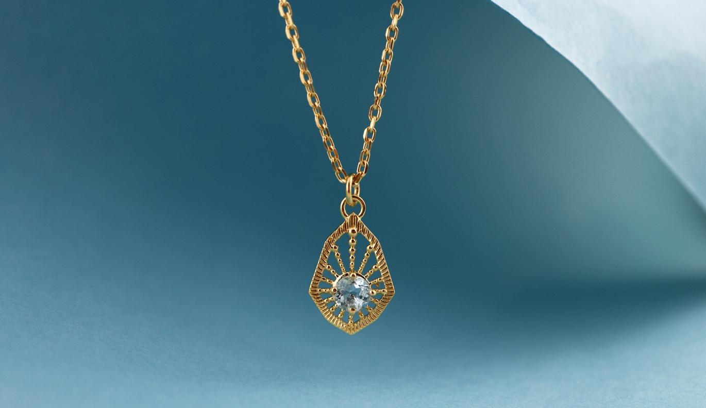 Bella Necklace / 22k Gold Plate / Aquamarine