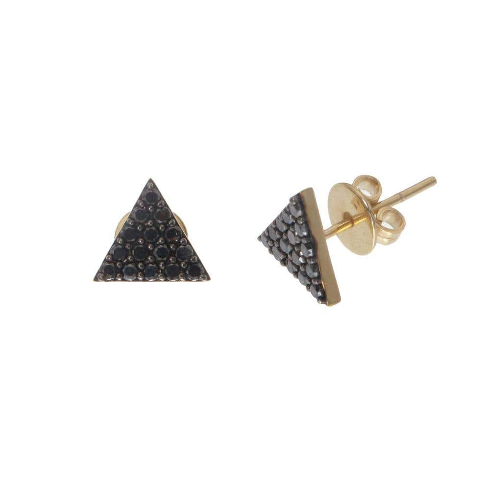 Pyramid of Black Diamonds Studs