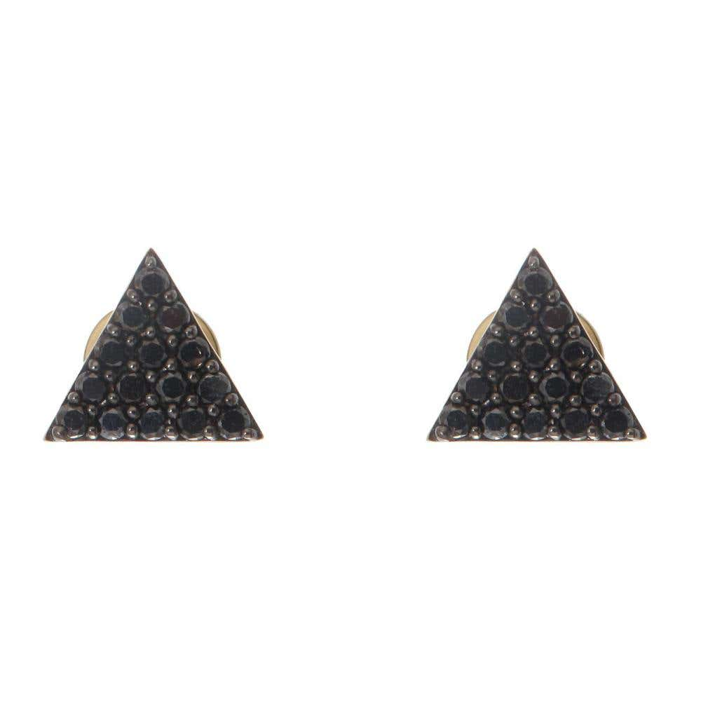 Pyramid of Black Diamonds Studs
