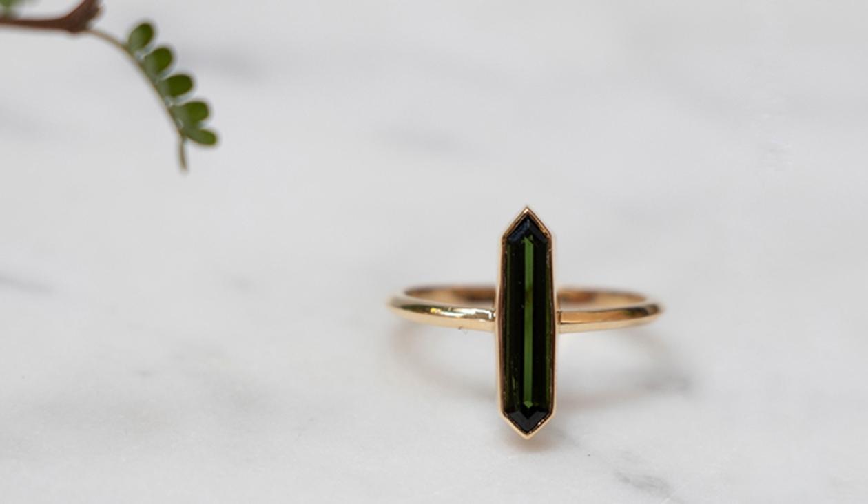 Celeste Ring / 18k Yellow Gold / Green Tourmaline