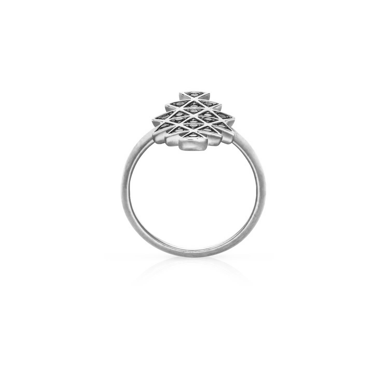 Cosmic Union Ring. White Gold / Black Diamond  - Image