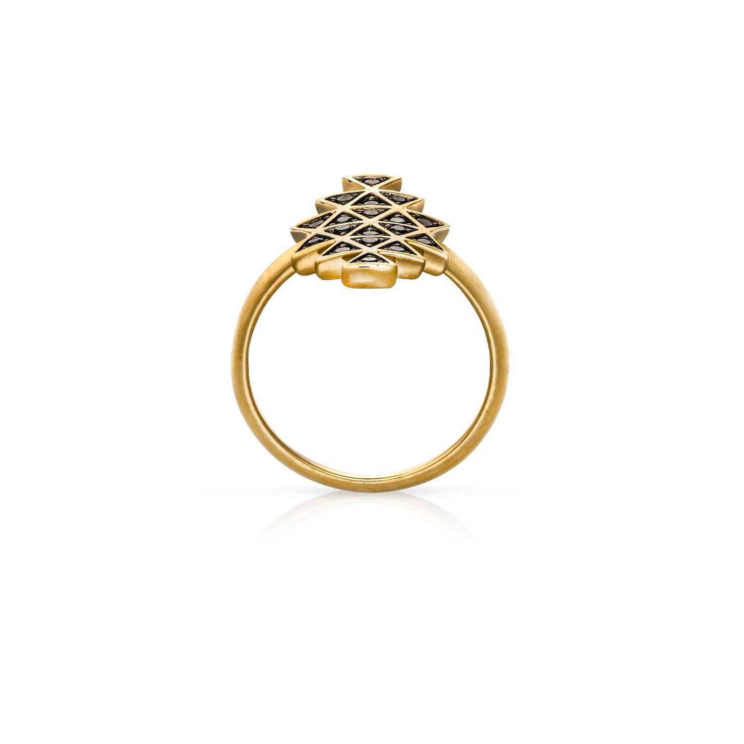 Cosmic Union Ring. Yellow Gold / Black Diamond