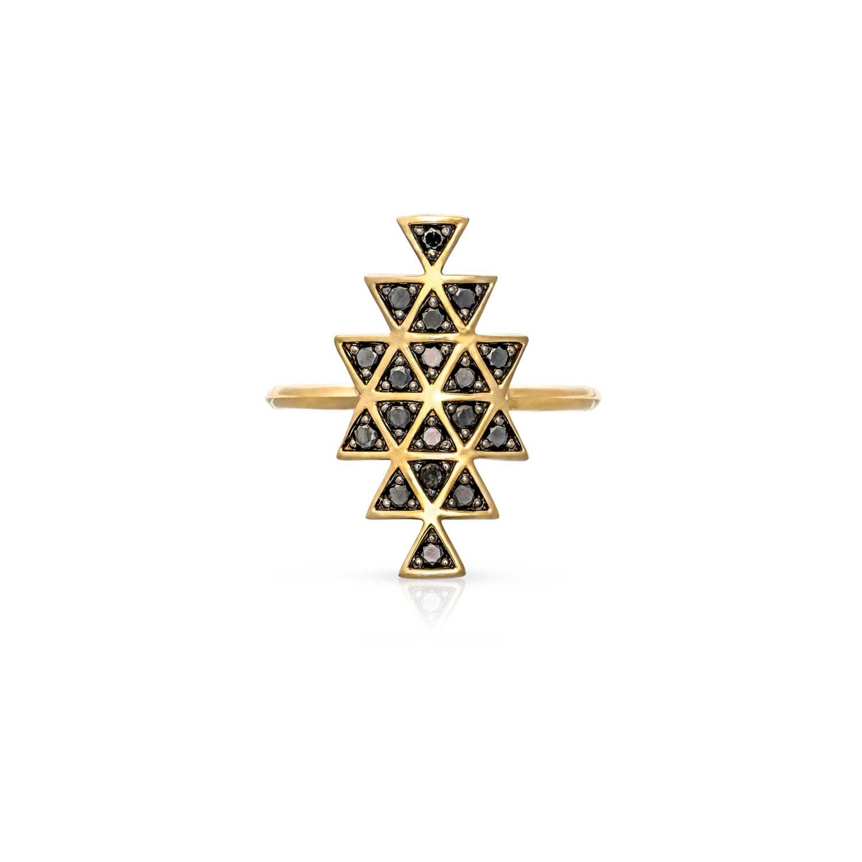 Cosmic Union Ring. Yellow Gold / Black Diamond  - Image