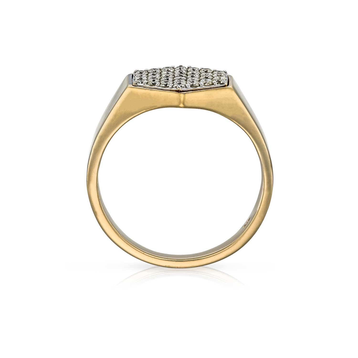 Hexagon Diamond Signet Ring