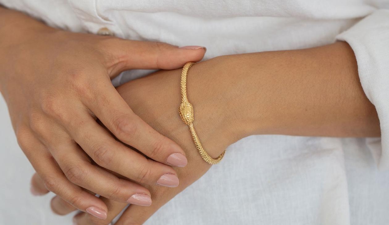 Eternity Snake Bracelet / 22k Gold Plate