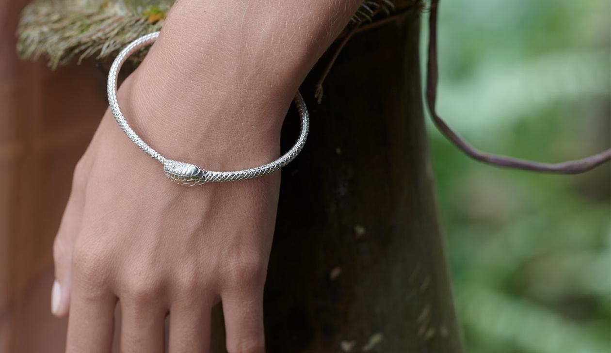 Eternity Snake Bracelet / Sterling Silver