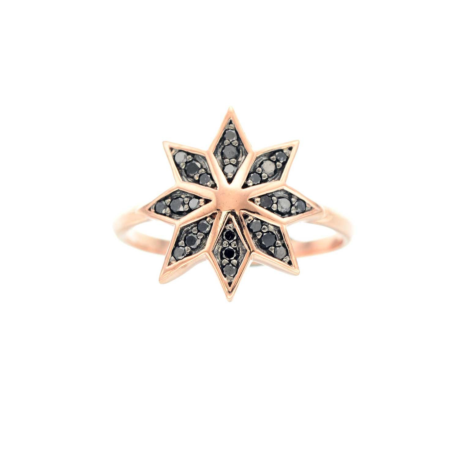 Lakshmi Ring. 9k Rose Gold / Black Diamond
