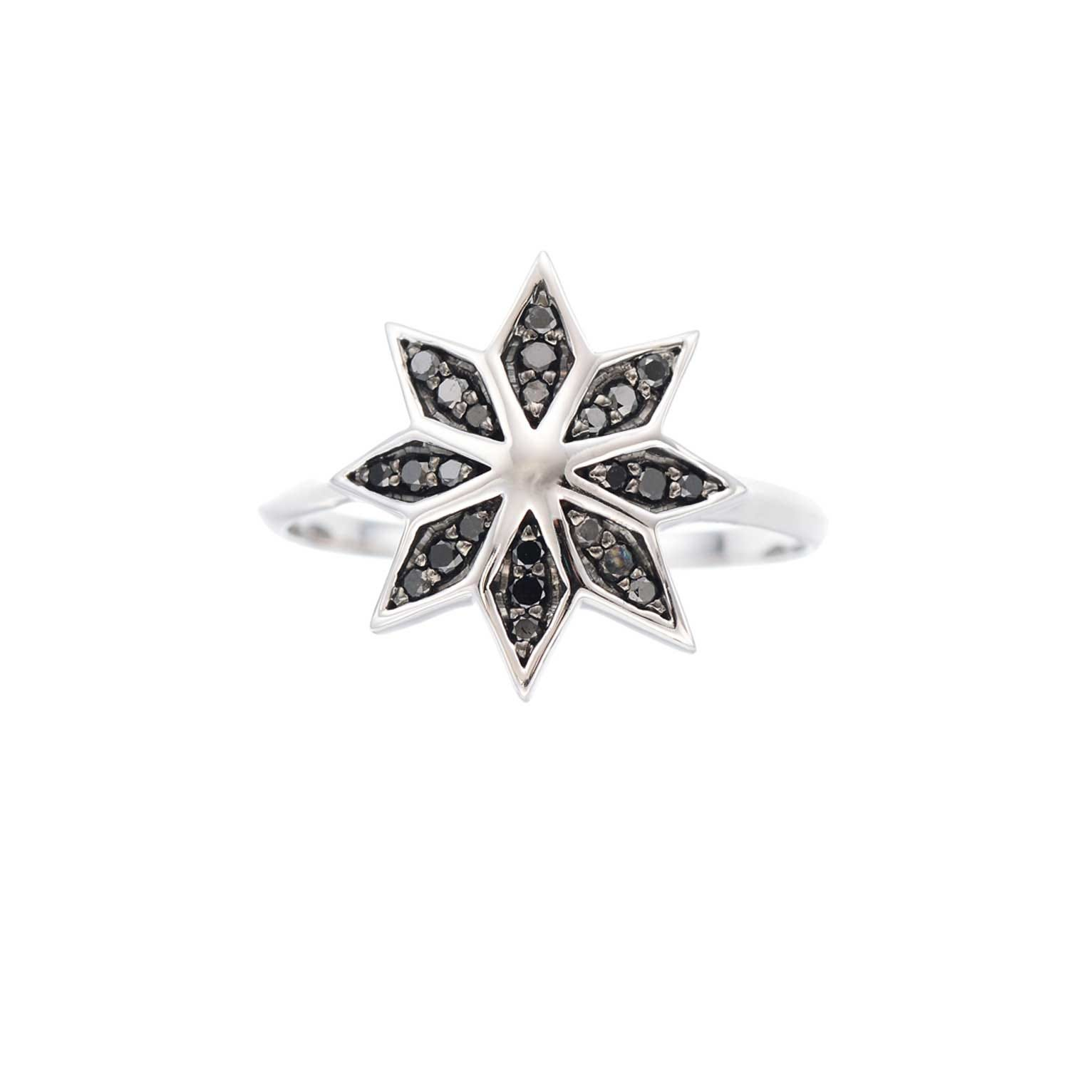 Lakshmi Ring. 9k White Gold / Black Diamond