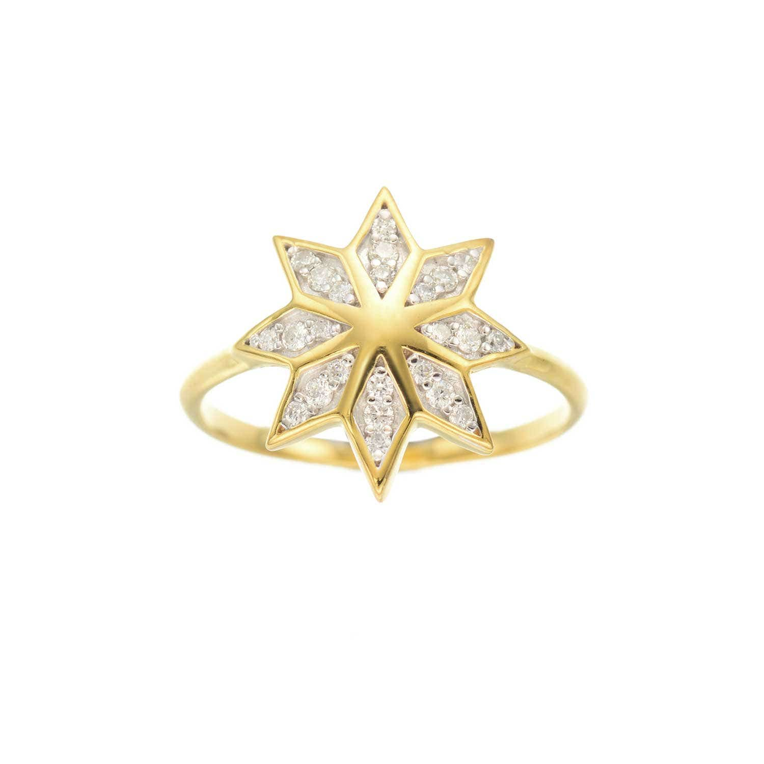 Lakshmi Ring. 9k Yellow Gold / Diamond