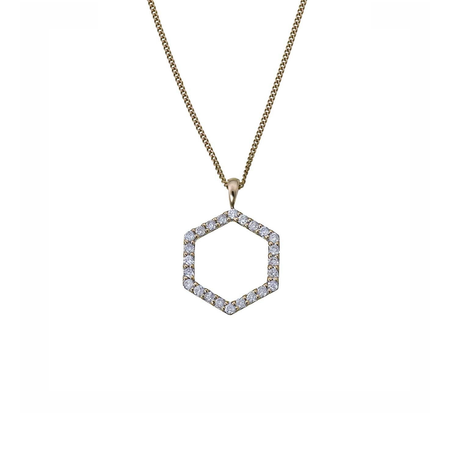 Hexagon Diamond Necklace. 9k White Gold / White Diamonds - Image