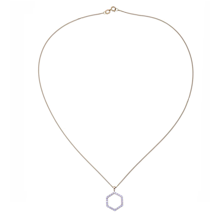 Hexagon Diamond Necklace. 9k Yellow Gold / White Diamonds - Image