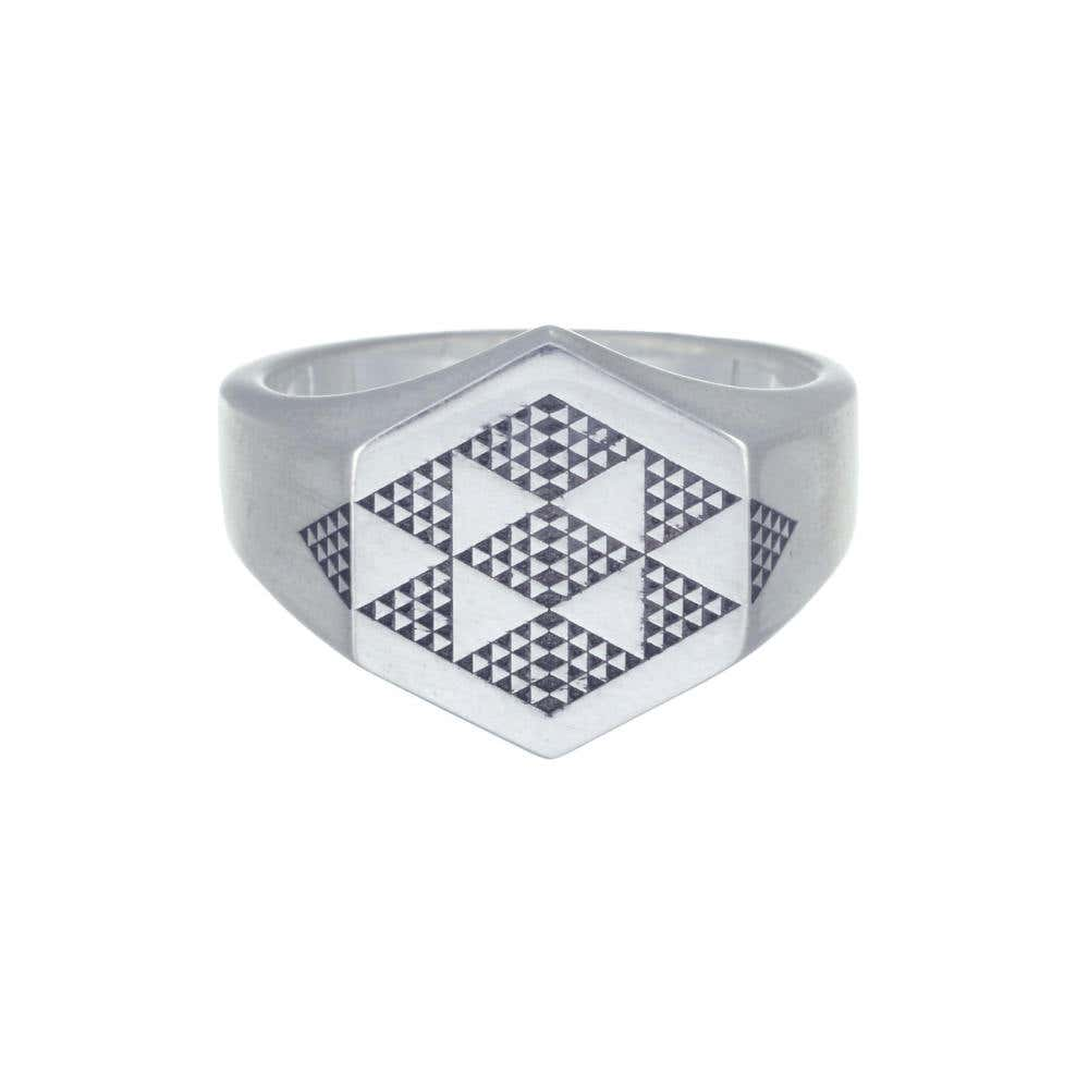 Mens Hexagon Engraved Signet Ring