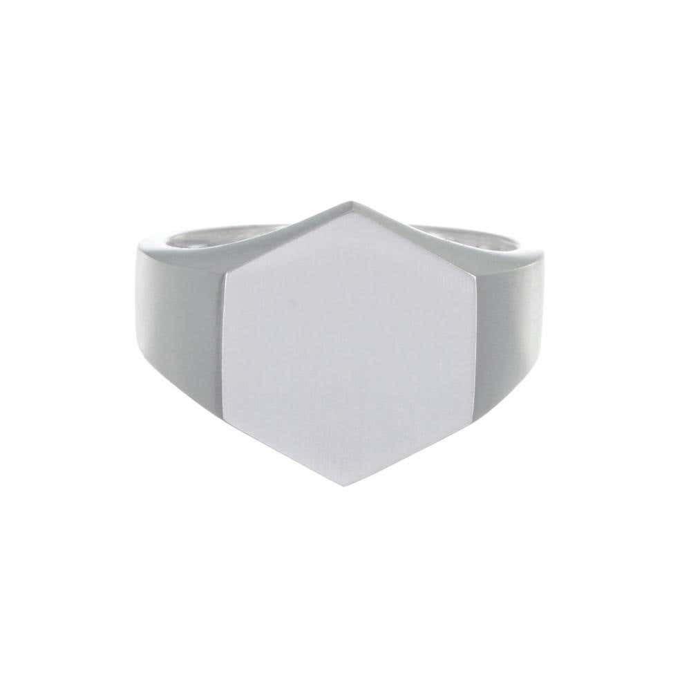 Mens Hexagon Signet Ring