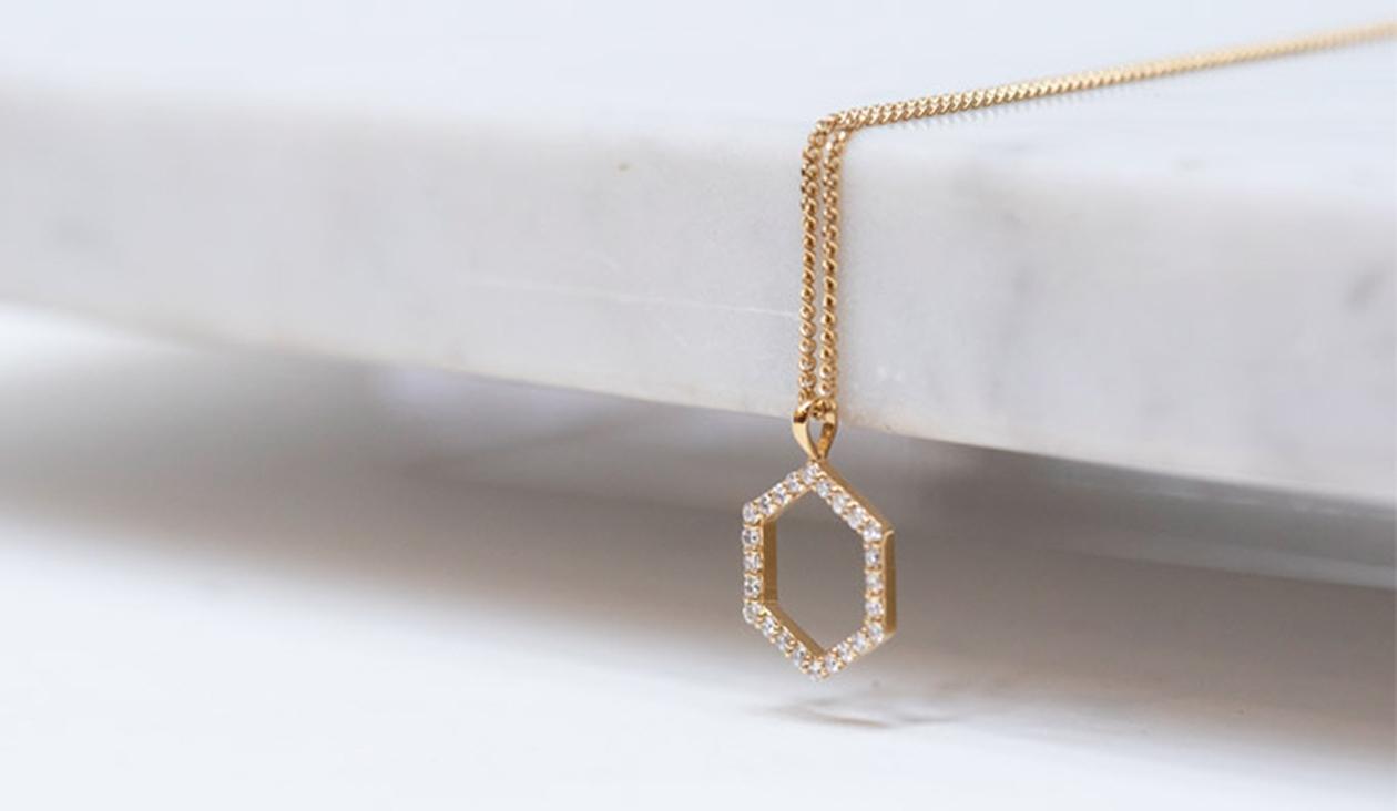 Hexagon Diamond Necklace / 9k Yellow Gold / White Diamond