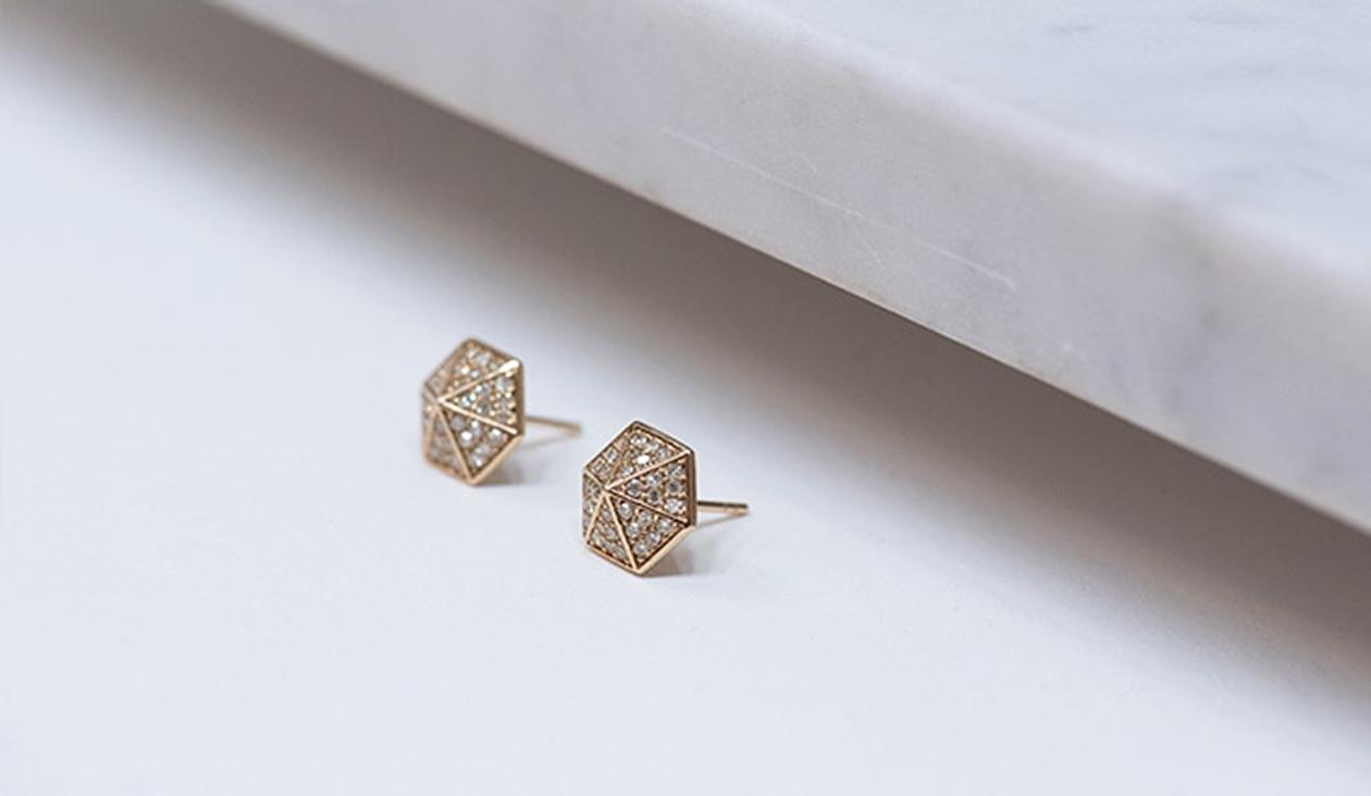 Hexagon Diamond Studs