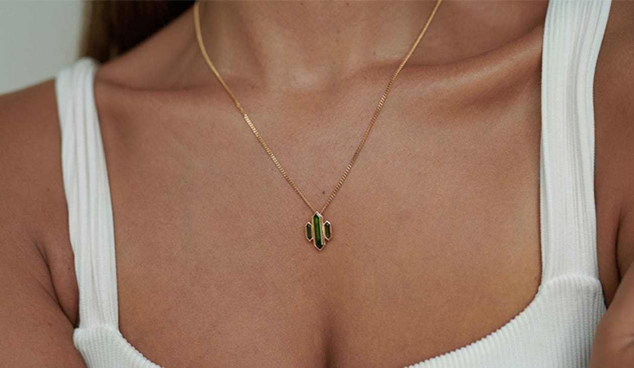 Kailas Necklace / 18k Yellow Gold / Green Tourmaline