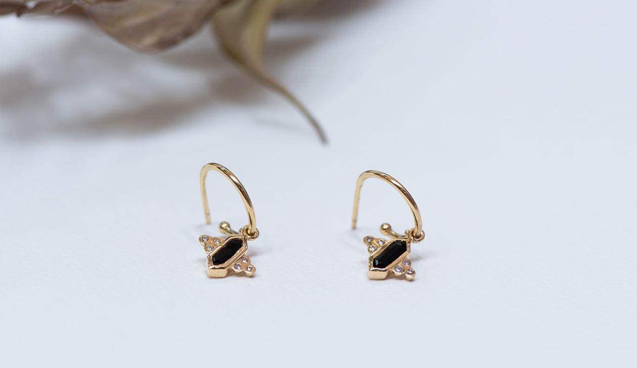 Kalani Hoop Earrings / 18k Yellow Gold / Green Tourmaline