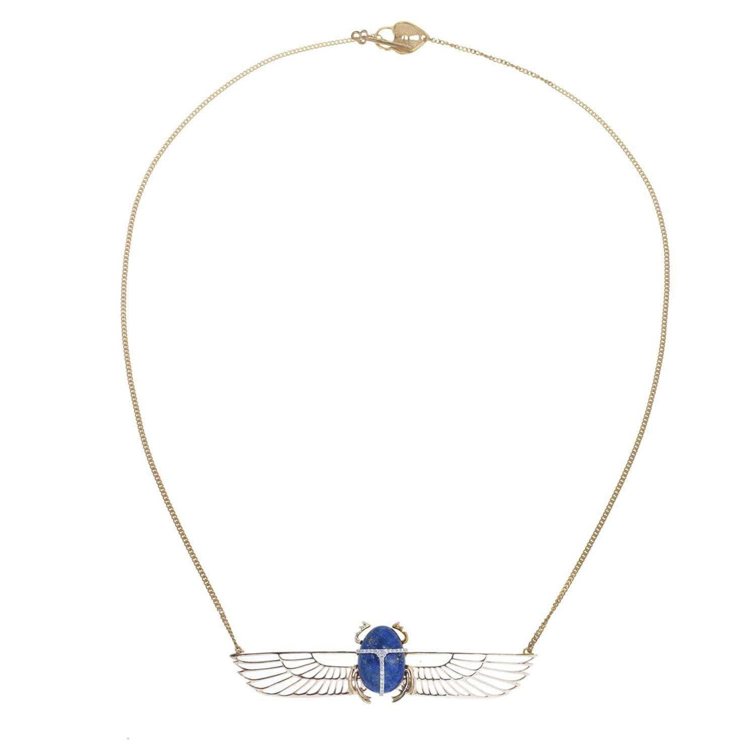 Khephera Diamond Necklace. Yellow gold, Lapis Lazuli and Diamond. - Image