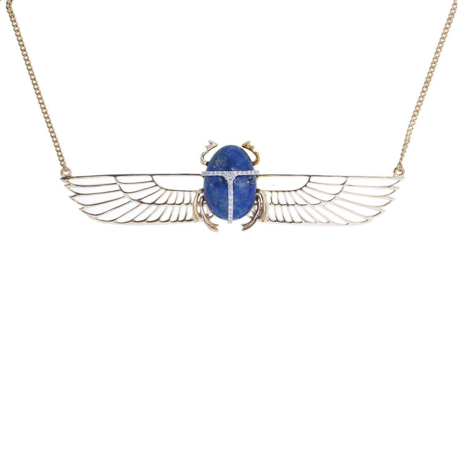 Khephera Diamond Necklace. Yellow gold, Lapis Lazuli and Diamond. - Thumbnail