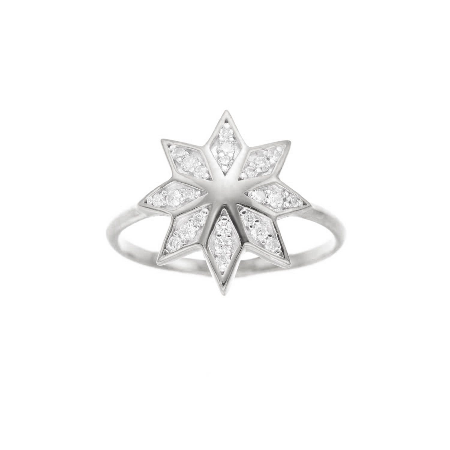Lakshmi Ring. 9k White Gold / Diamond