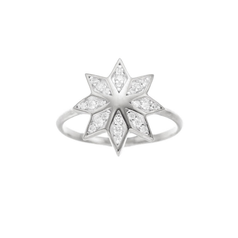 Lakshmi Ring. 9k White Gold / Diamond - Image