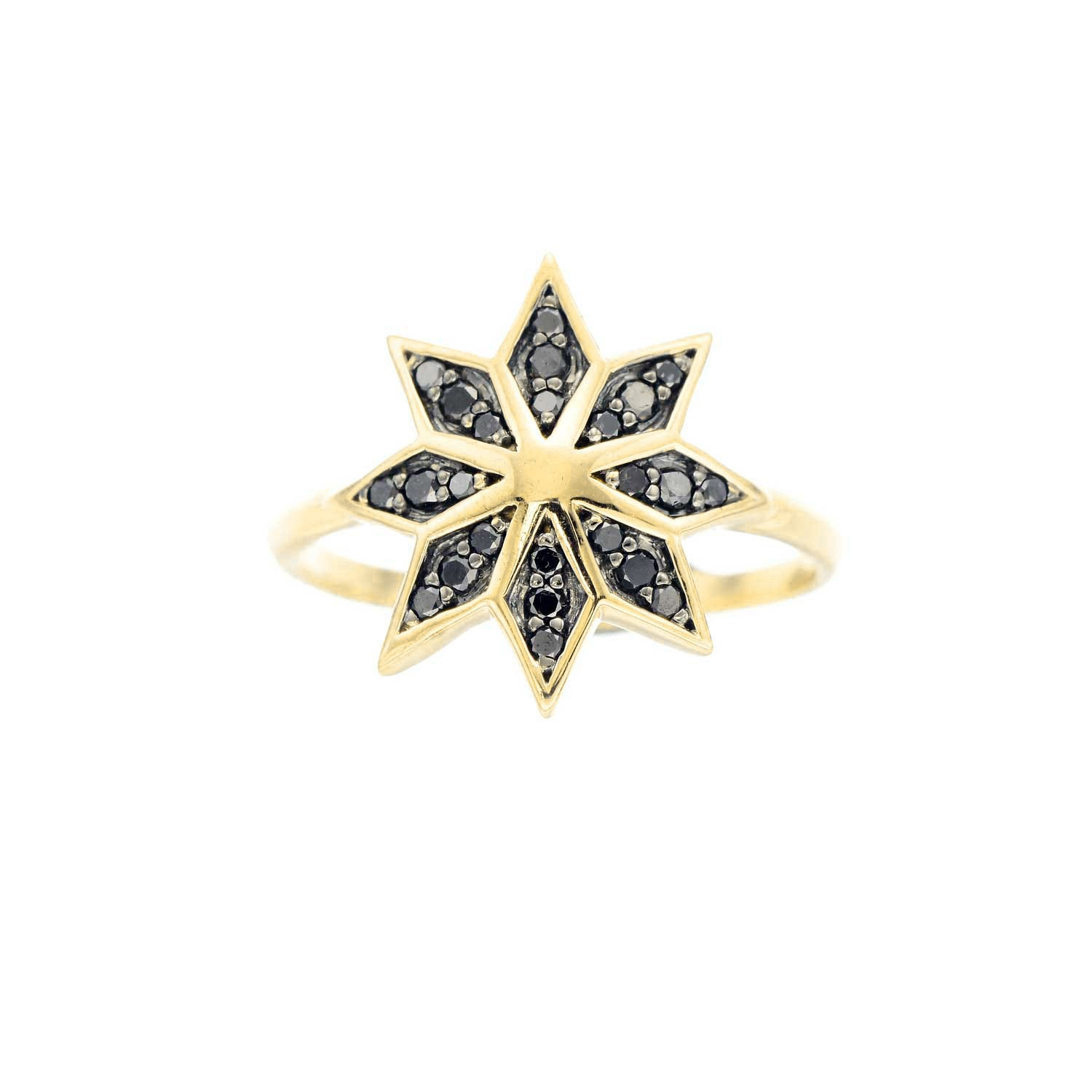 Lakshmi Ring. 9k Yellow Gold / Black Diamond