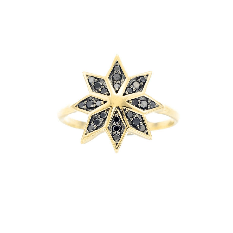Lakshmi Ring. 9k Yellow Gold / Black Diamond - Image