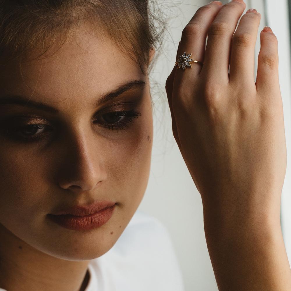 Lakshmi Ring. 9k Rose Gold / Black Diamond - Image