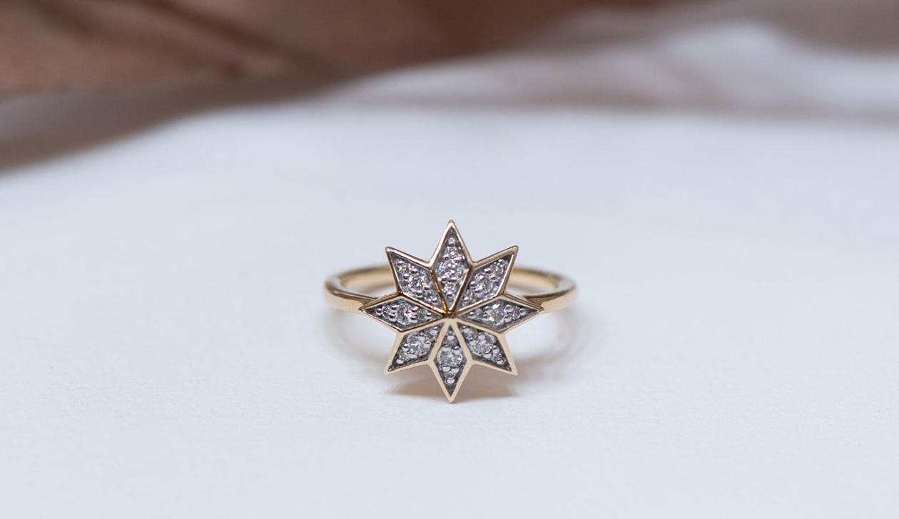 Lakshmi Ring / 9k Yellow Gold / Diamond