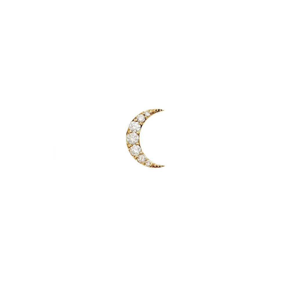 Luna Diamond Stud. 9k Yellow Gold / White Diamond - Image