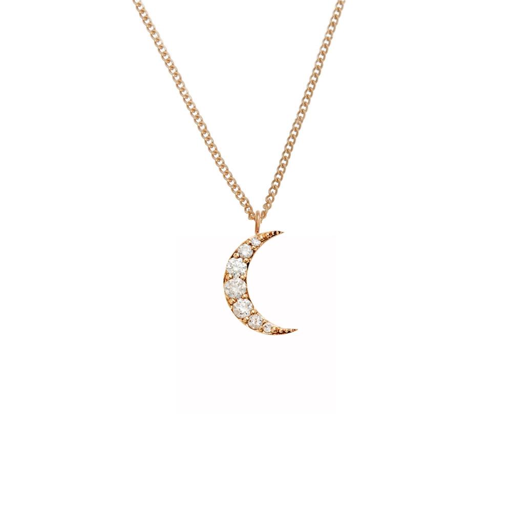 Luna Diamond Necklace 9k Rose Gold / White Diamond - Image