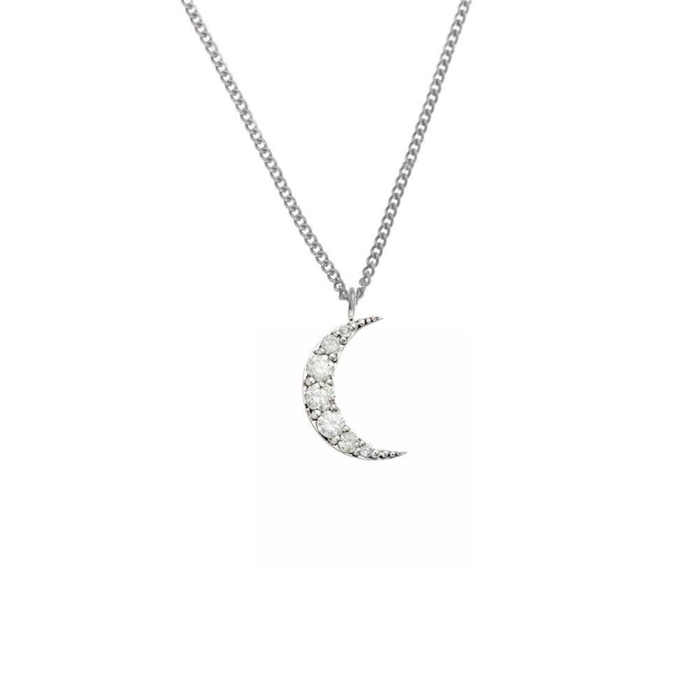 Luna Diamond Necklace 9k White Gold / White Diamond - Image