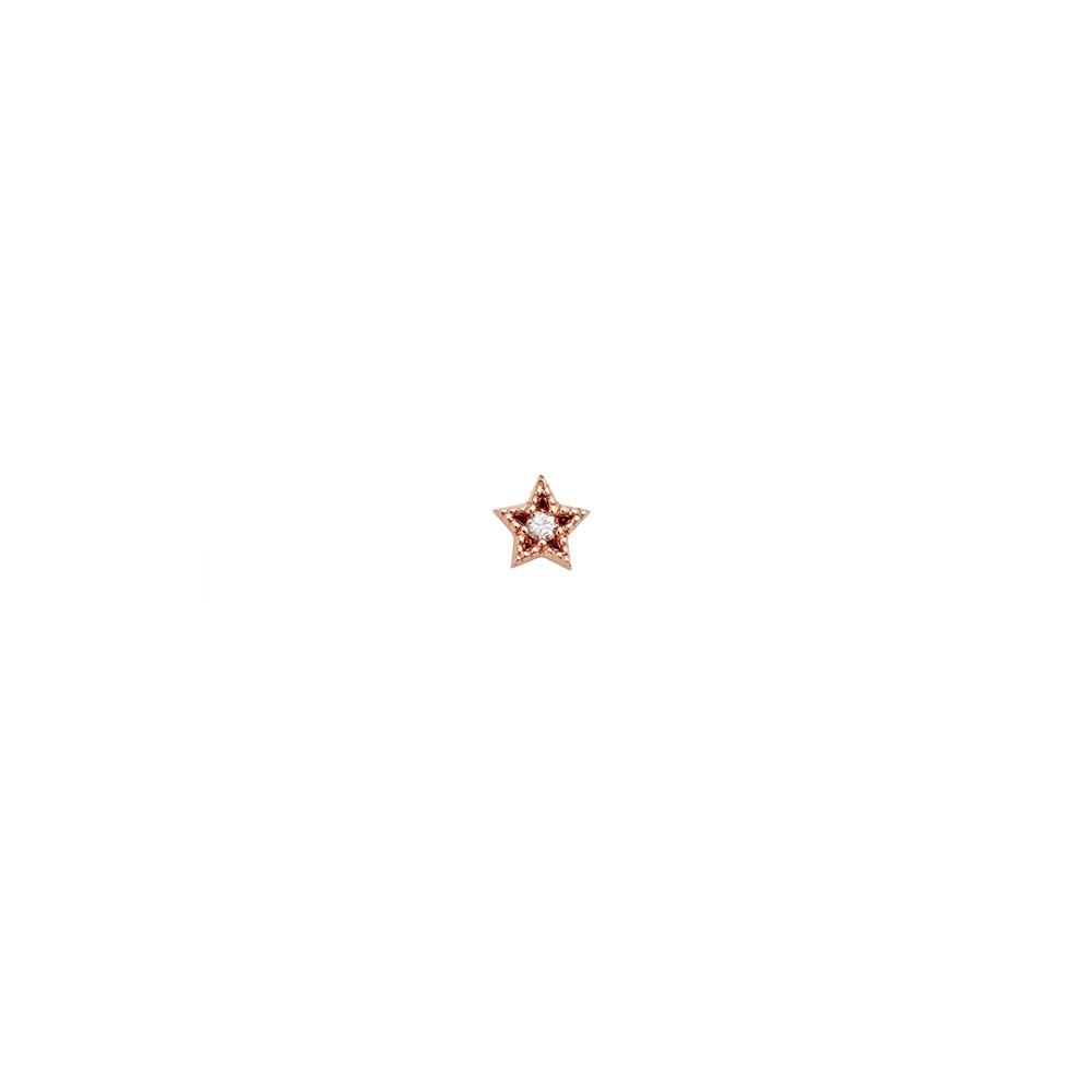 Maia Diamond Stud. 9k Rose Gold / White Diamond - Image