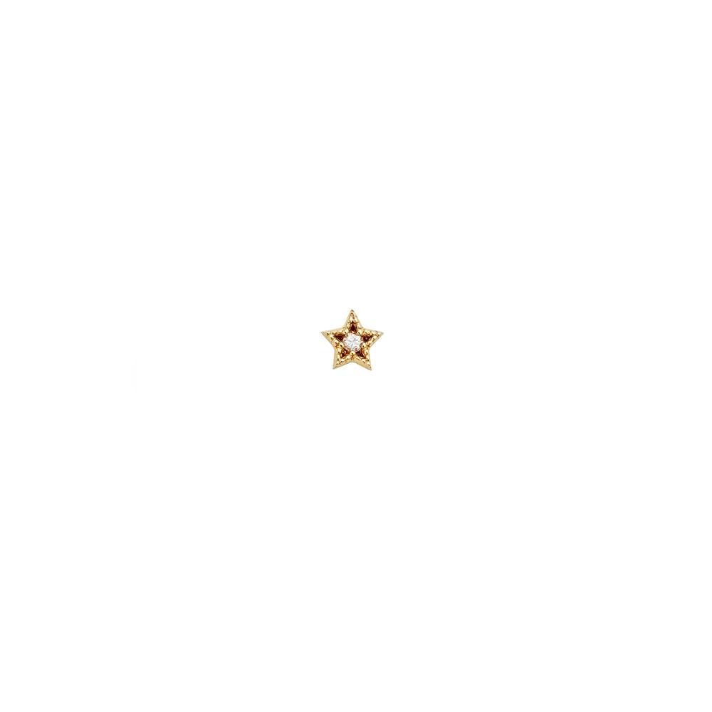 Maia Diamond Stud. 9k Yellow Gold / White Diamond - Image