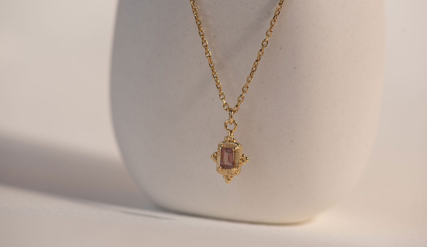 Marina Necklace / 22k Gold Plate / Pink Tourmaline