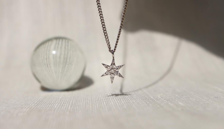 Mini Anahata Diamond Necklace / 9ct White Gold / Diamond