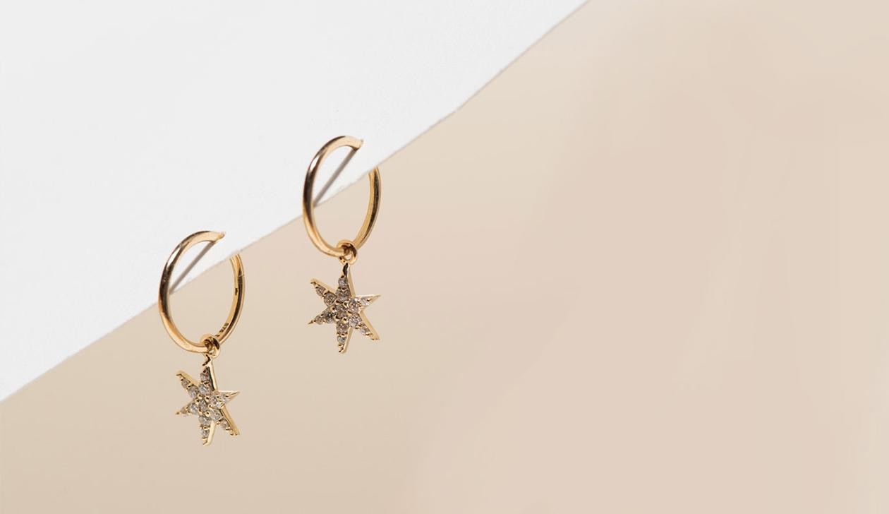 Mini Anahata Diamond Hoops