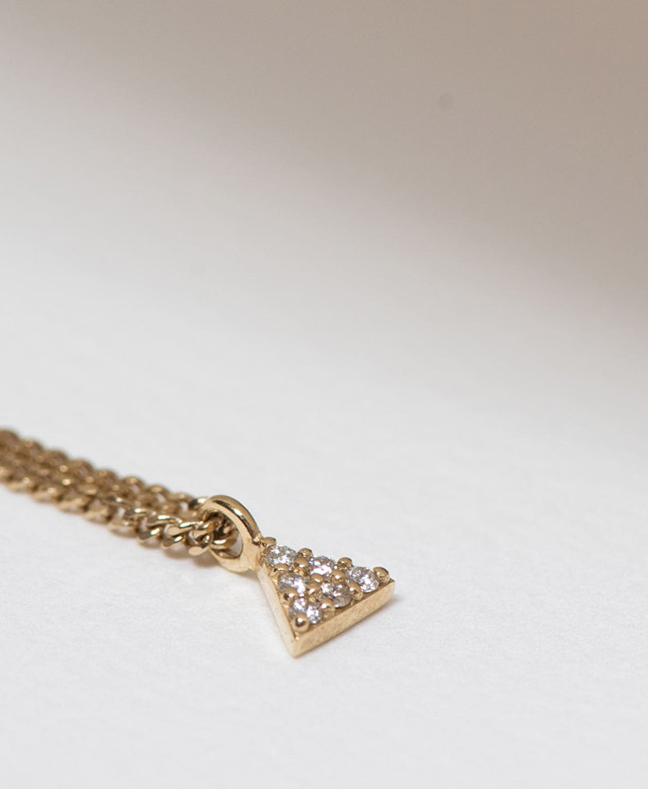 Mini Pyramid Diamond Necklace / 9k Yellow Gold / Diamond