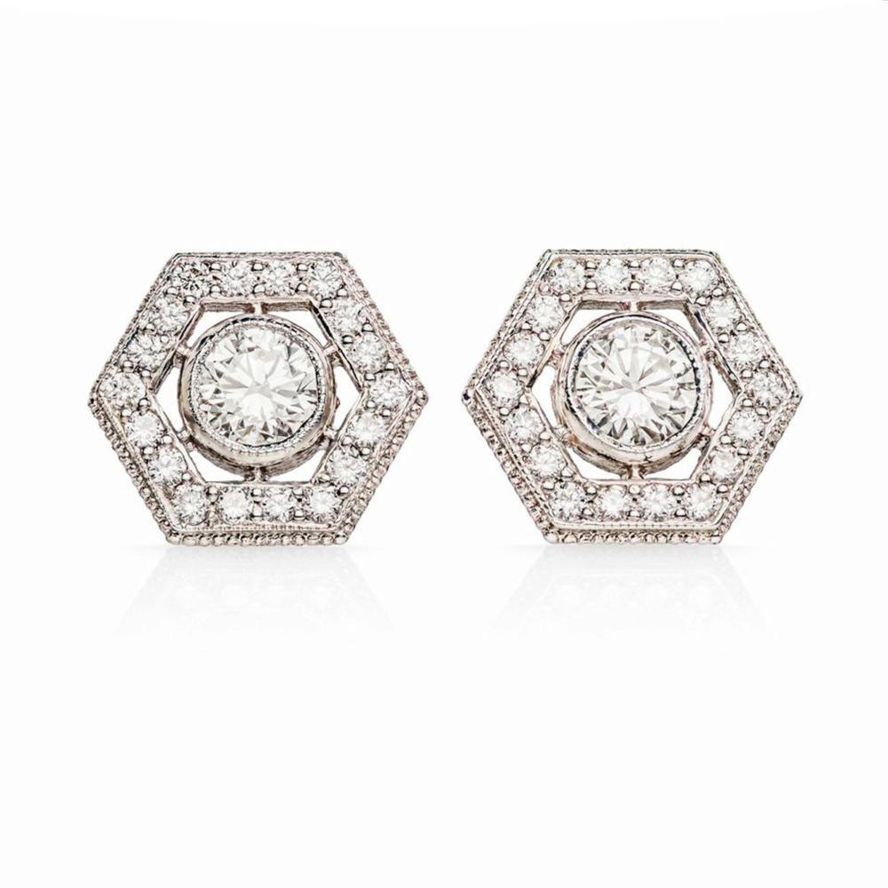 New Hexagon Diamond Studs