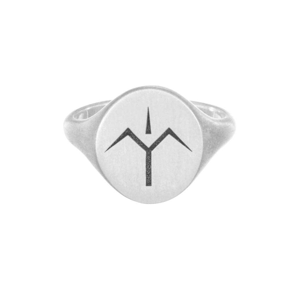 Mens Oval Engraved Signet Ring